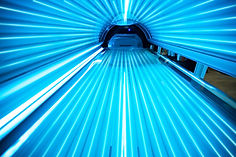 Solarium tanning bed, view from inside .