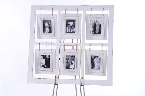 White frame with 6 photo places