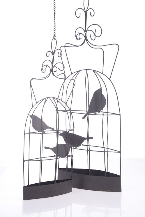 Black metal bird cages - Set of two