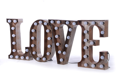 Metal marquee 'love' sign