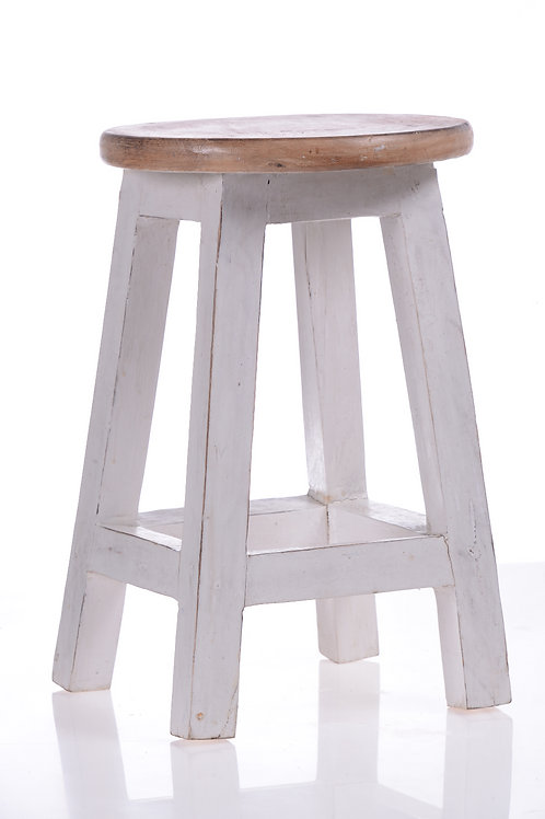 White stool with timber top