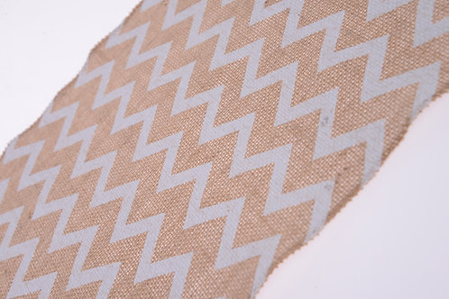 White chevron burlap table runner