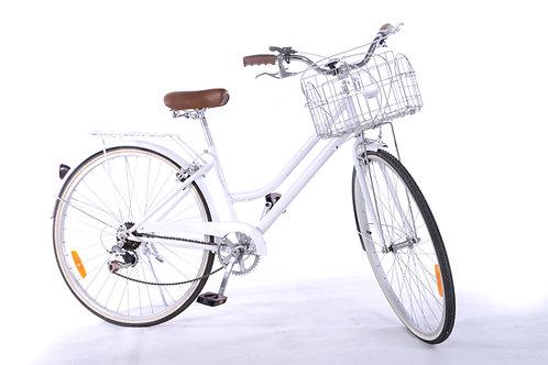 White vintage bike with basket