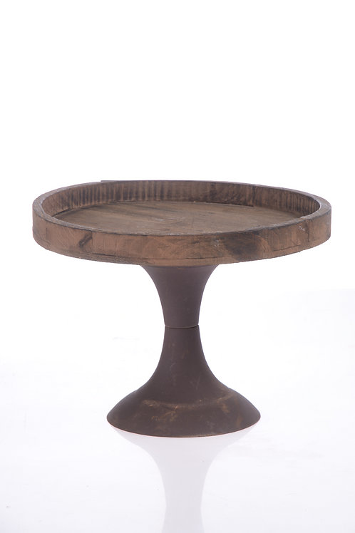 Rustic wooden cake stand with metal base