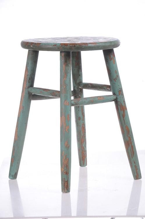 Vintage green timber stool
