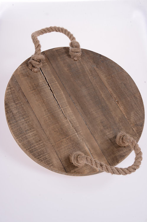 Timber serving tray with rope handles