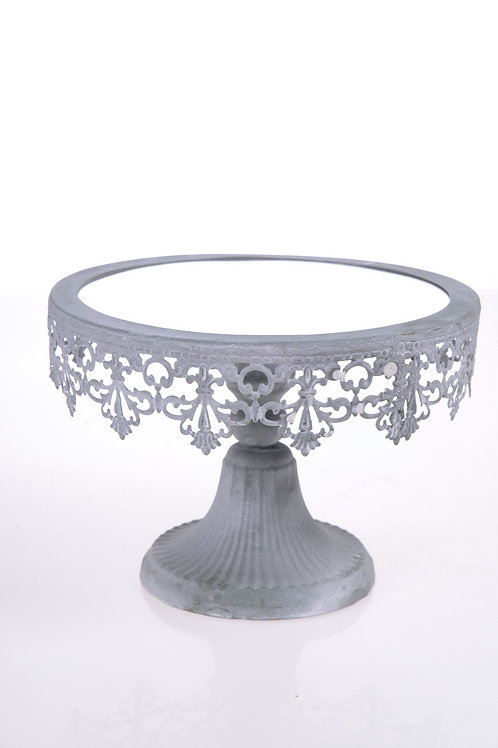 Vintage tin cake stand with mirrored base