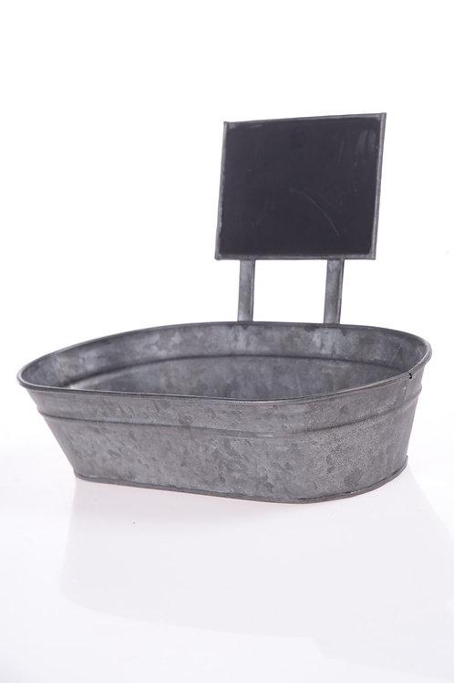 Metal tin with chalkboard sign
