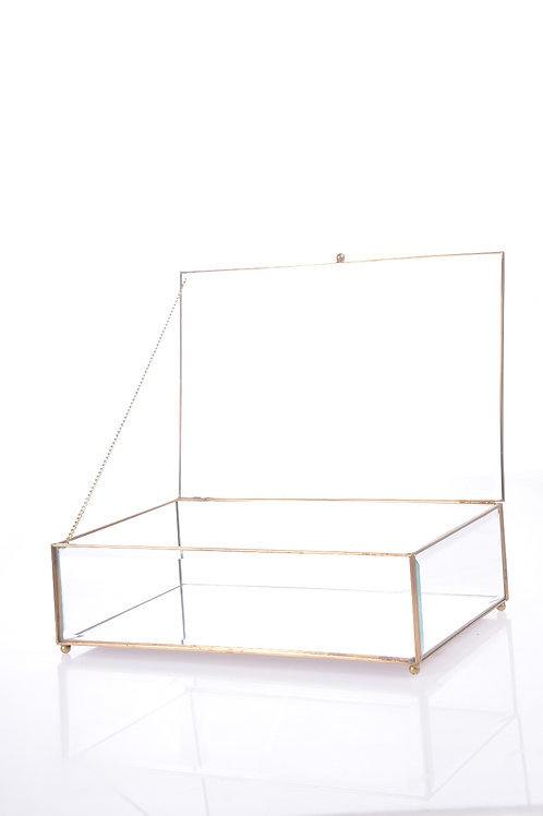 Glass box with mirrored base and gold edging