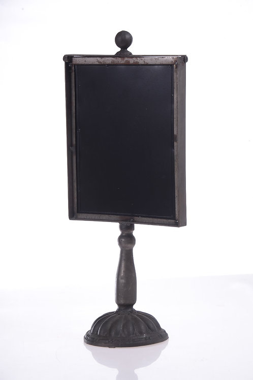 Metal table sign with blackboard
