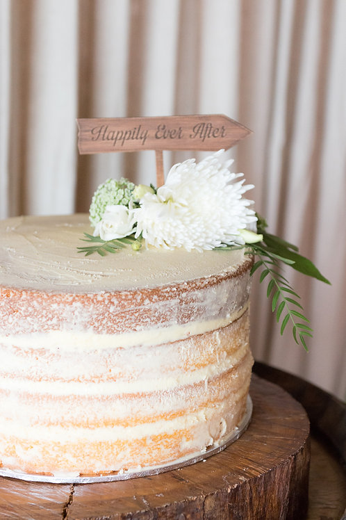 'Happily ever after' timber cake topper