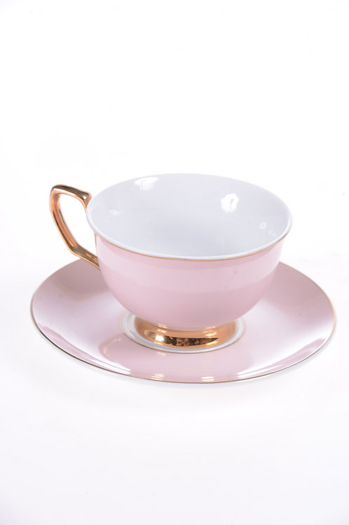 Blush pink tea cup and saucer