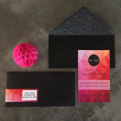 Glam geo wedding invitation