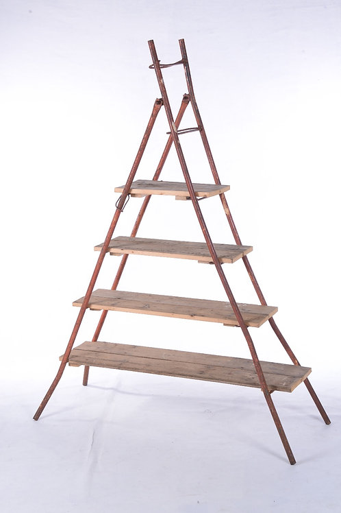 Metal A-frame with timber shelves
