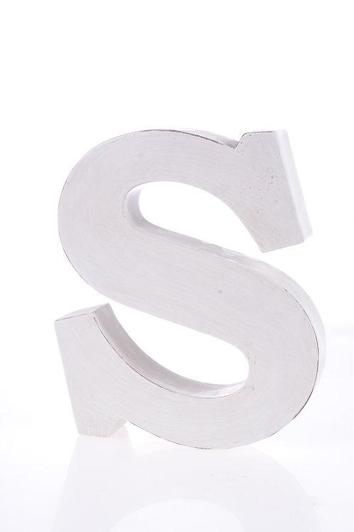 White metal letter 'S'
