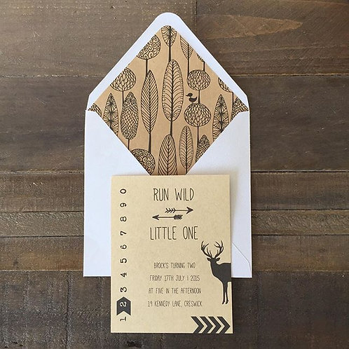 'Run wild little one' invitation with envelope