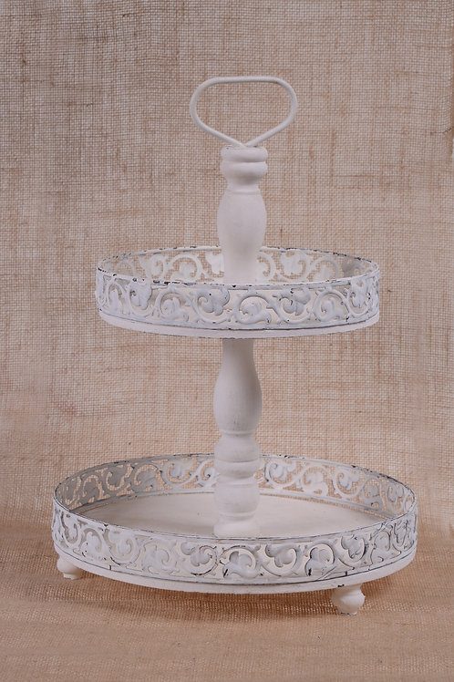 White vintage cupcake stand