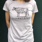 Cow Lady t-shirt, light gray, fitted cut