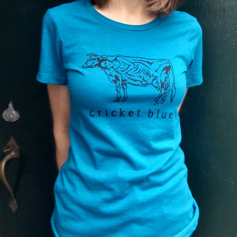 Cow Lady t-shirt, teal, fitted cut