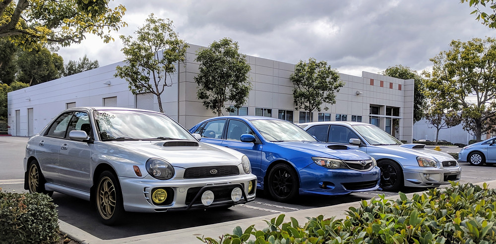 Left to right: 2002 WRX, 2008 WRX, 2004 WRX