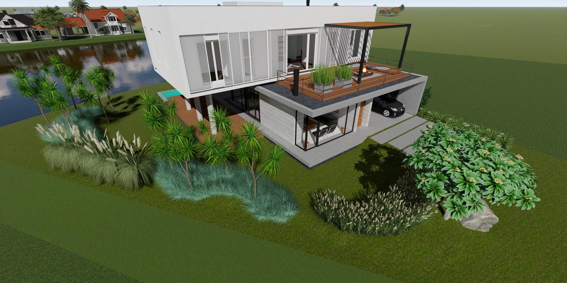 Estudo jardim casa de praia