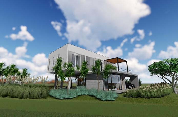 Estudo jardim casa de praia.
