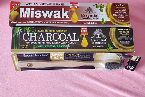 All natural toothpaste and bamboo toothbrush set