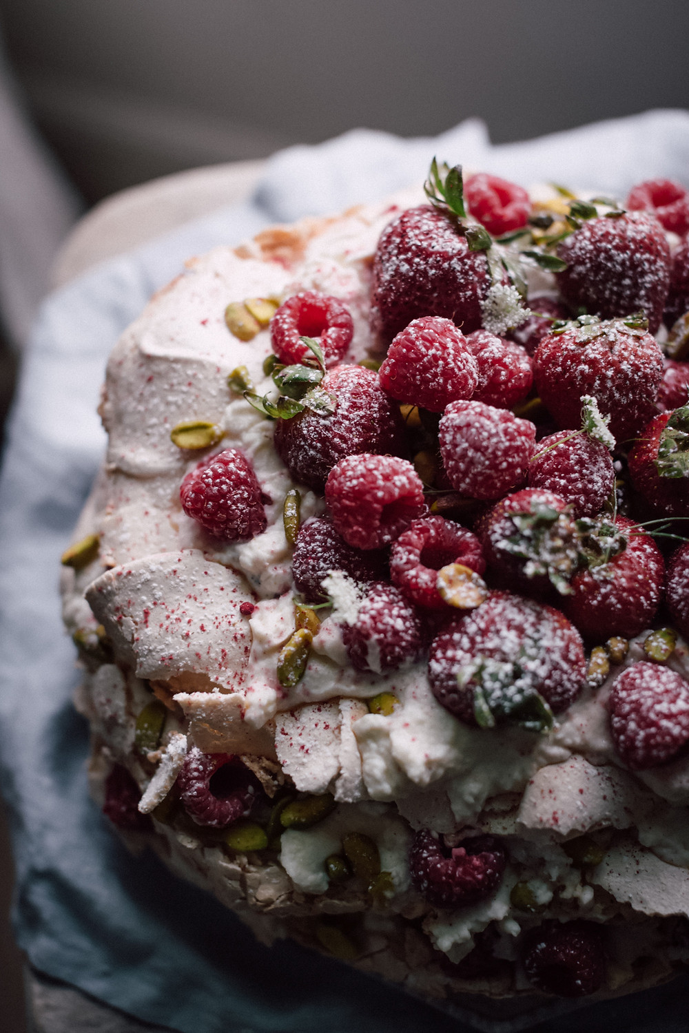 Berries Pavlova, a fancy dessert
