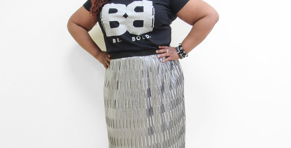 Simply Be Silver Ruffle Skirt