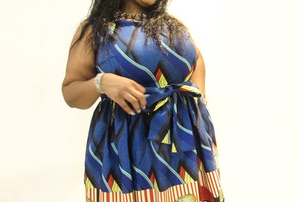 African Print Blue Dress