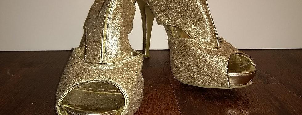 Gold Open Toe Heel