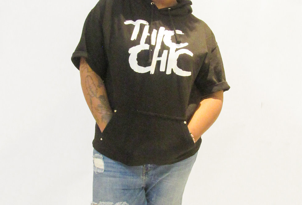 Black Thic Chic Short Sleeve Hoodie
