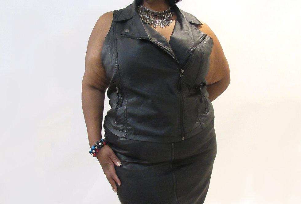 Dots Black Studed Faux Leather Vest
