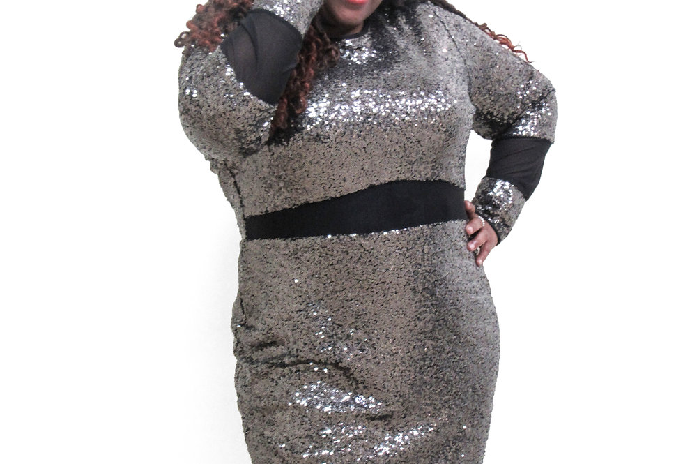 Asos Silver and Black Sequence and Mesh Dress