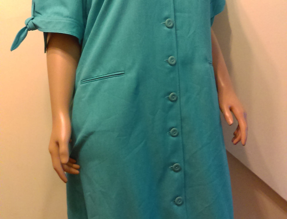 Brownstone Studio Teal Dress With Bow on Sleeve