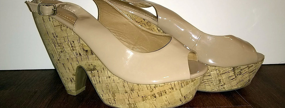 Beige Semi-Wedge Heel
