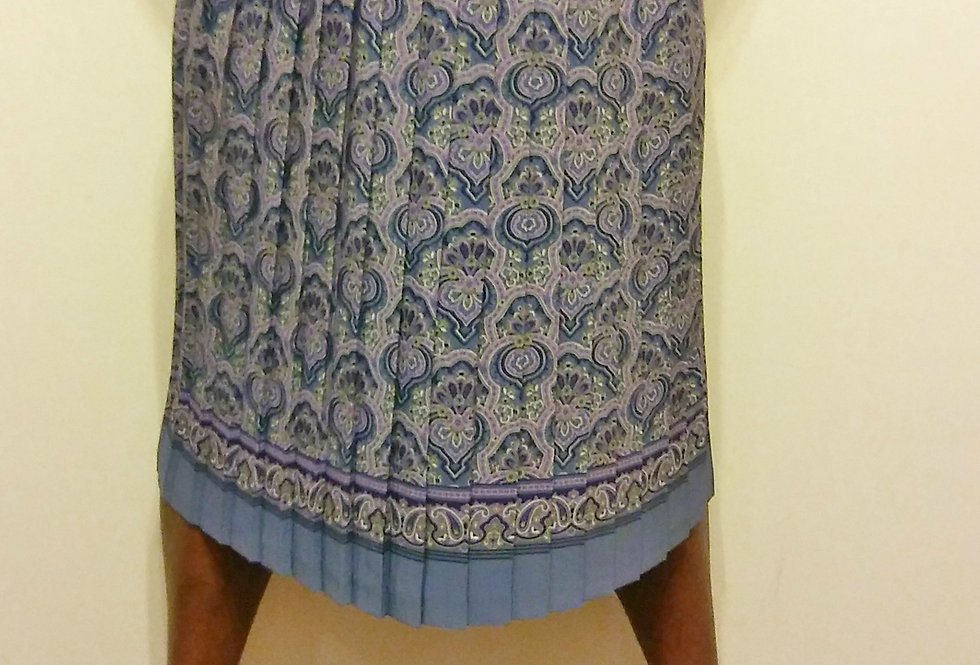 Blue & Gray Pleated Skirt