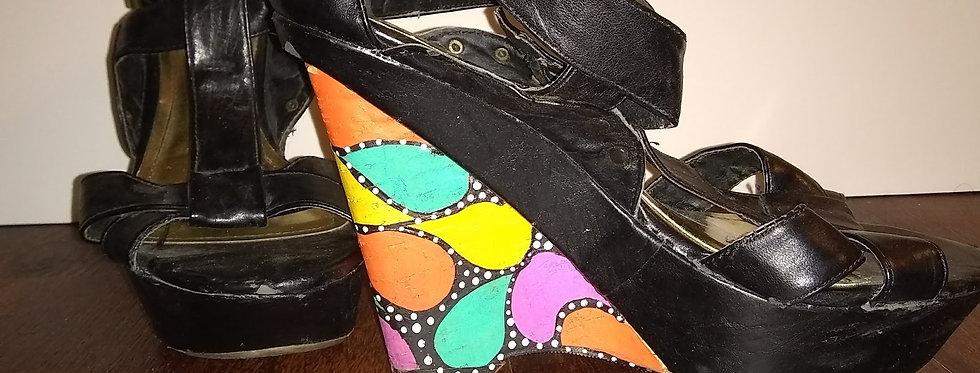 Multi-color Wedge Heel