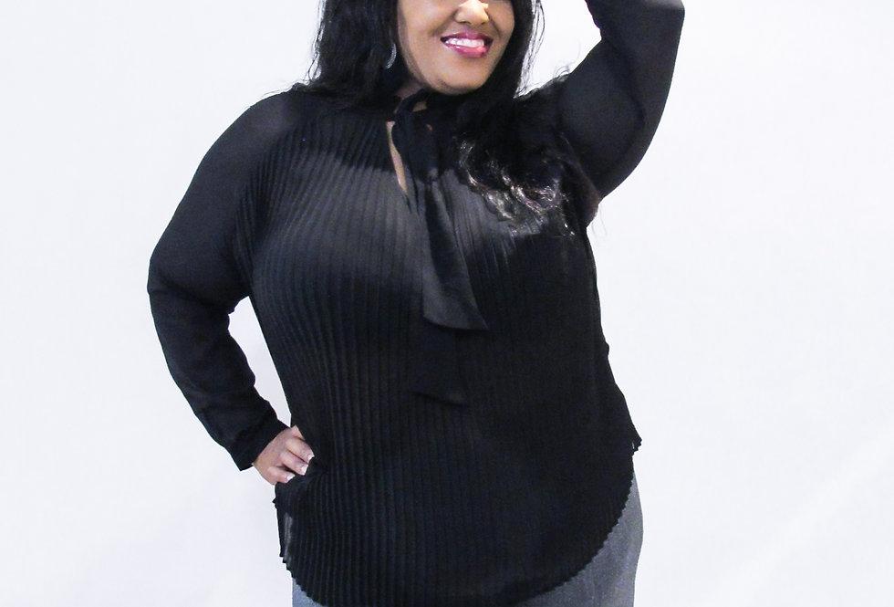 Who What Wear Black Sheer Ruffle Shirt