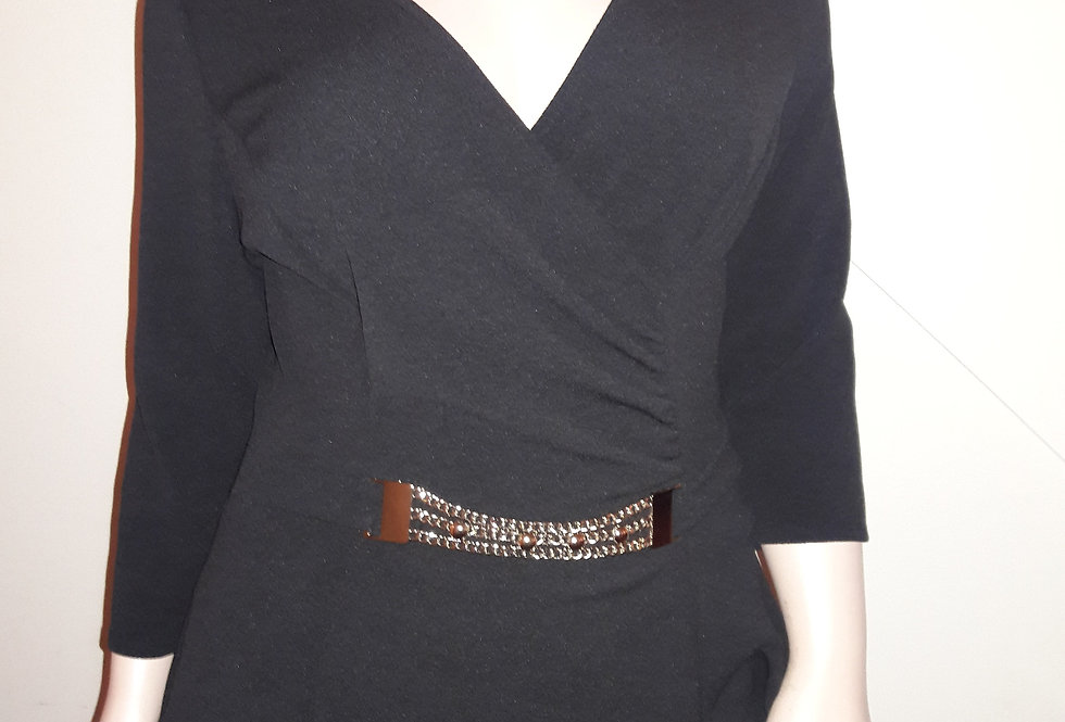 Black Top with Faux Silver Belt