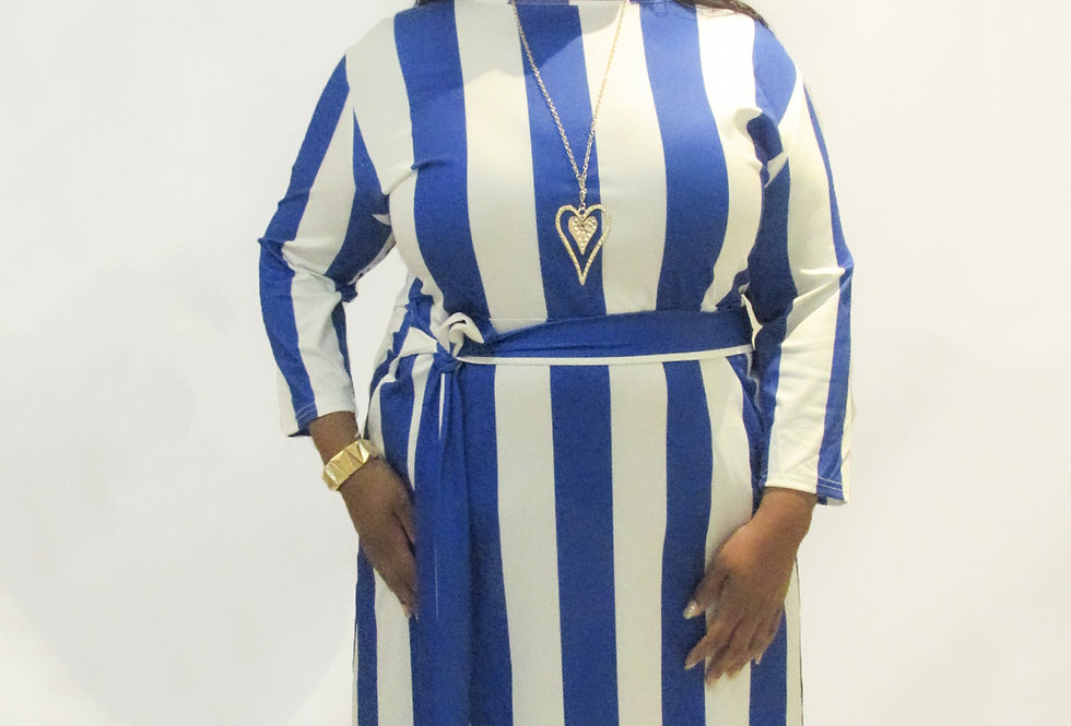 TE Blue and White Striped Dress