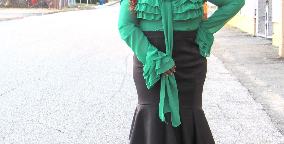 TE Wear Green Ruffle top with Long Bow