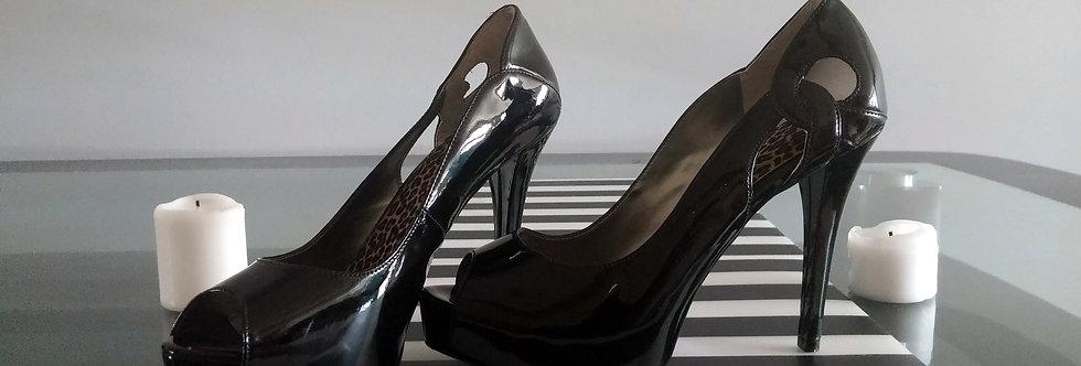 Plack Patent Leather Open Toe Heel