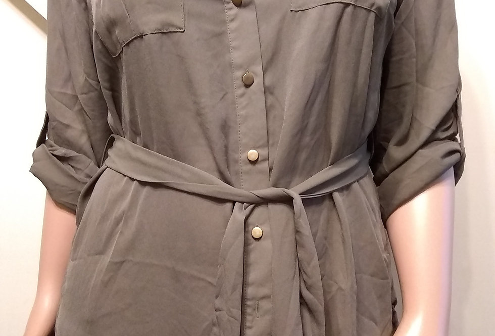 Hunter Green Top with Gold Buttons