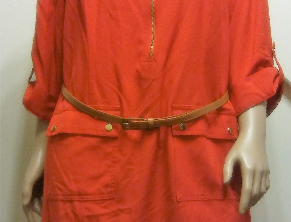 Sharagano Red Dress with Brown Belt