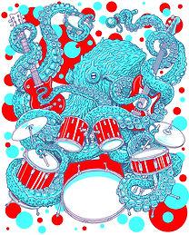 Octopus, Band, drums, red, white, blue, screenprint, Butzer, music, original, art