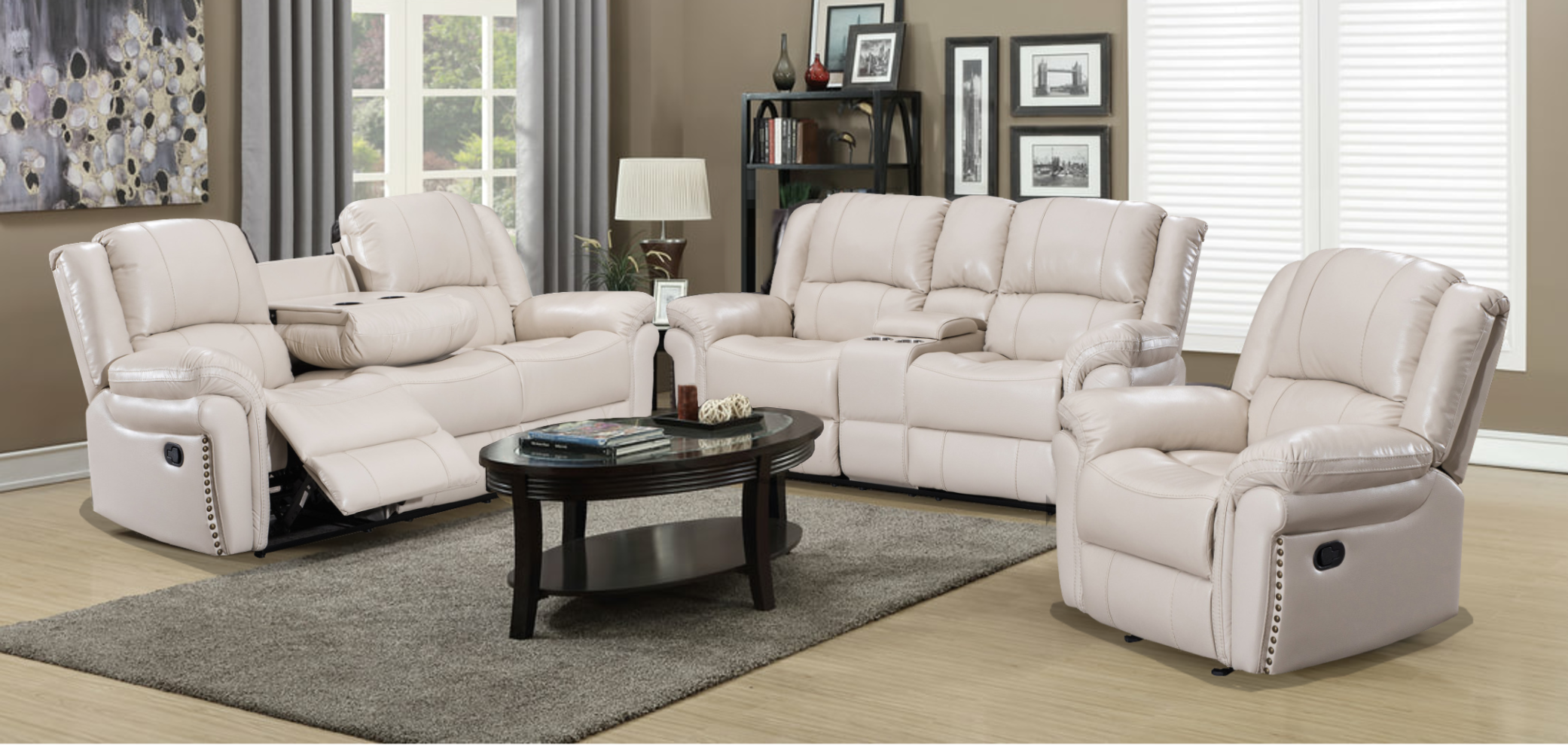 Monrose Off White 3 Pc Leather Reclining Sofa Set