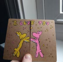 Crusader Card ~ I love you balloon dogs