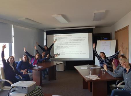 Comenzando la segunda jornada del curso Formación de facilitadores FreshBiz, Uruguay octubre 2018..