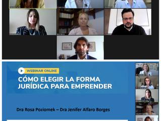 """Las Dras Poziomek y Alfaro exponen en el Webinar """"Cómo elegir la forma jurídica para emprender"""":"""